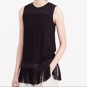 J. Crew Collection Black Knit Top Fringe Small